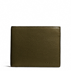 COACH BLEECKER LEATHER SLIM BILLFOLD ID WALLET - DARK OLIVE - F74590