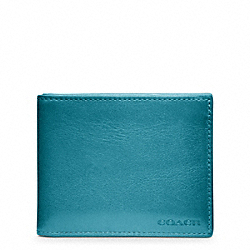 COACH BLEECKER LEATHER SLIM BILLFOLD ID WALLET - OCEAN - F74590