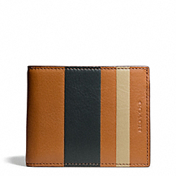 COACH BLEECKER DEBOSSED STRIPE SLIM BILLFOLD ID - NATURAL/SHARKSKIN - F74593
