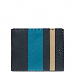 COACH BLEECKER DEBOSSED STRIPE SLIM BILLFOLD ID - ONE COLOR - F74593