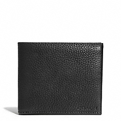 COACH BLEECKER PEBBLED LEATHER DOUBLE BILLFOLD WALLET - BLACK - F74595