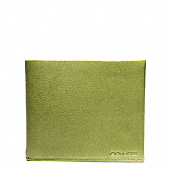 BLEECKER PEBBLED LEATHER DOUBLE BILLFOLD - LIME - COACH F74595