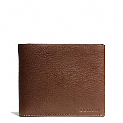 COACH BLEECKER PEBBLED LEATHER DOUBLE BILLFOLD - MAHOGANY - F74595