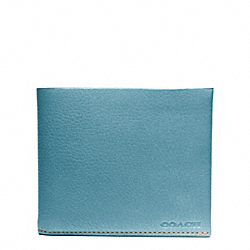 COACH BLEECKER PEBBLED LEATHER DOUBLE BILLFOLD - OCEAN - F74595