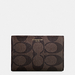 COACH BLEECKER SLIM BIFOLD CARD CASE IN SIGNATURE COATED CANVAS - MAHOGANY/BROWN - F74600