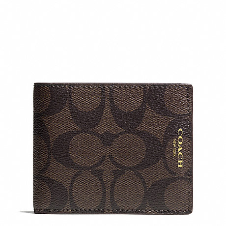 COACH BLEECKER SIGNATURE SLIM BILLFOLD - MAHOGANY/BROWN - f74612