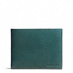 COACH BLEECKER PEBBLED LEATHER SLIM BILLFOLD - AEGEAN - F74614