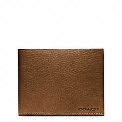 COACH BLEECKER SLIM BILLFOLD WALLET IN PEBBLE LEATHER - SADDLE - F74614