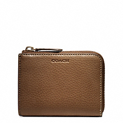 COACH BLEECKER PEBBLED LEATHER HALF ZIP WALLET - ONE COLOR - F74624
