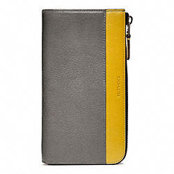 COACH BLEECKER LEATHER LARGE HALF ZIP WALLET - PEWTER/SQUASH - F74626