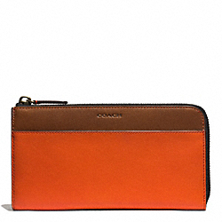 BLEECKER LEATHER LARGE HALF ZIP WALLET - SAMBA/FAWN - COACH F74626