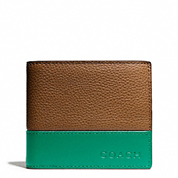 CAMDEN LEATHER COMPACT ID WALLET - SADDLE/EMERALD - COACH F74634