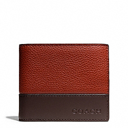 COACH CAMDEN LEATHER COMPACT ID WALLET - RUST/DARK BROWN - F74634