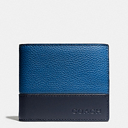 CAMDEN LEATHER COMPACT ID WALLET - DENIM - COACH F74634