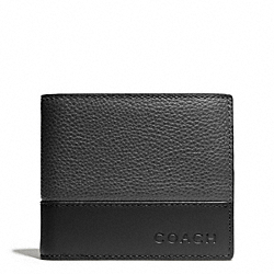 CAMDEN LEATHER COMPACT ID WALLET - SLATE/BLACK - COACH F74634