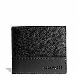 COACH CAMDEN LEATHER COIN WALLET - BLACK/BLACK - F74637