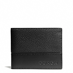 COACH CAMDEN LEATHER SLIM BILLFOLD - BLACK/BLACK - F74638