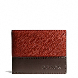 COACH CAMDEN LEATHER SLIM BILLFOLD - RUST/DARK BROWN - F74638