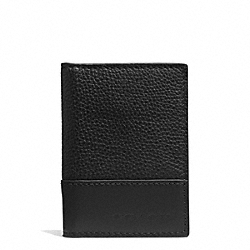 COACH CAMDEN LEATHER SLIM PASSCASE ID WALLET - BLACK/BLACK - F74639