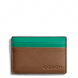 CAMDEN LEATHER SLIM CARD CASE - SADDLE/EMERALD - COACH F74640