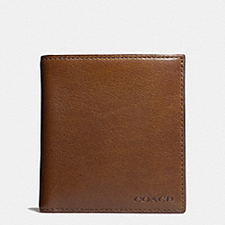 COACH BLEECKER SLIMFOLD ID WALLET IN LEATHER - FAWN - F74648