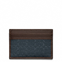 COACH CAMDEN CANVAS SIGNATURE SLIM CARD CASE - NAVY - F74652