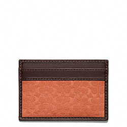 COACH CAMDEN CANVAS SIGNATURE SLIM CARD CASE - ORANGE - F74652