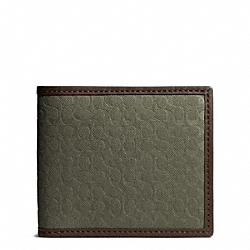 COACH CAMDEN CANVAS SIGNATURE COMPACT ID WALLET - FATIGUE - F74653