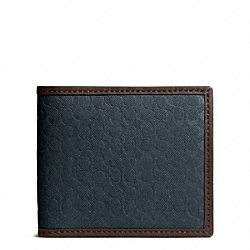 COACH CAMDEN CANVAS SIGNATURE COMPACT ID WALLET - NAVY - F74653