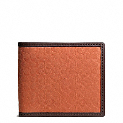 COACH CAMDEN CANVAS SIGNATURE COMPACT ID WALLET - ORANGE - F74653