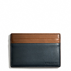 COACH BLEECKER LEATHER COLORBLOCK ID CARD CASE - NAVY/FAWN - F74667
