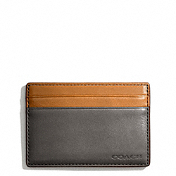 COACH BLEECKER LEATHER COLORBLOCK ID CARD CASE - SHARKSKIN/NATURAL - F74667
