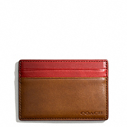 COACH BLEECKER LEATHER COLORBLOCK ID CARD CASE - FAWN/TOMATO - F74667