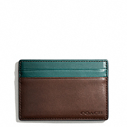 COACH BLEECKER LEATHER COLORBLOCK ID CARD CASE - MAHOGANY/AEGEAN - F74667
