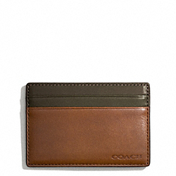 BLEECKER LEATHER COLORBLOCK ID CARD CASE - DOE/DARK OLIGHT GOLDVE - COACH F74667
