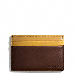 COACH BLEECKER ID CARD CASE IN COLORBLOCK LEATHER - OAK/NEW MUSTARD - F74667