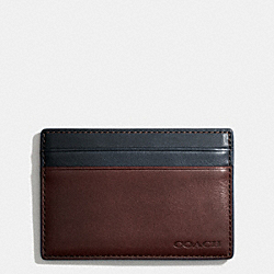 COACH BLEECKER ID CARD CASE IN COLORBLOCK LEATHER - NAVY/CORDOVAN - F74667