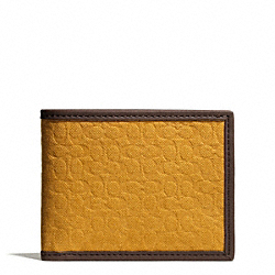 COACH CAMDEN CANVAS SIGNATURE SLIM BILLFOLD WALLET - MUSTARD - F74682