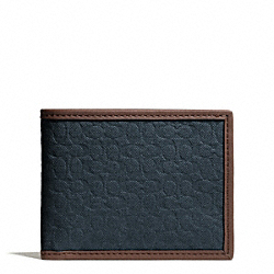 COACH CAMDEN CANVAS SIGNATURE SLIM BILLFOLD WALLET - NAVY - F74682