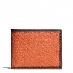 COACH CAMDEN CANVAS SIGNATURE SLIM BILLFOLD WALLET - ORANGE - F74682