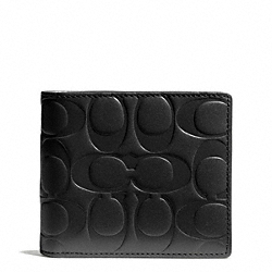 COACH SIGNATURE EMBOSSED LEATHER COMPACT ID WALLET - BLACK - F74686
