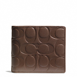 COACH SIGNATURE EMBOSSED LEATHER COMPACT ID WALLET - TOBACCO - F74686