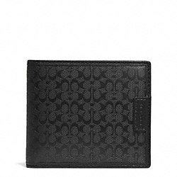 COACH SIGNATURE STRIPE COMPACT ID WALLET - BLACK - F74687