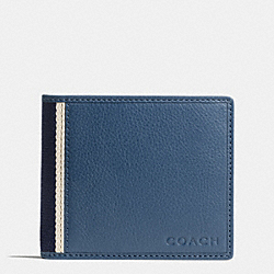 COACH HERITAGE WEB LEATHER COMPACT ID WALLET - SILVER/MARINE - F74688