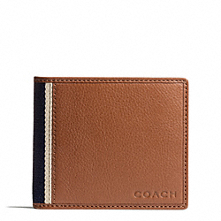 COACH HERITAGE WEB LEATHER COMPACT ID WALLET - SILVER/SADDLE - F74688