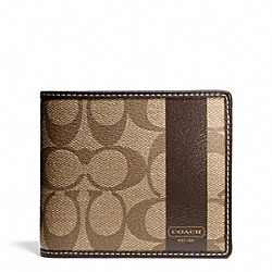 COACH COACH HERITAGE STRIPE COMPACT ID - ONE COLOR - F74689
