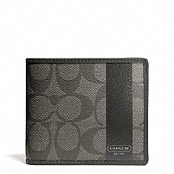 COACH COACH HERITAGE STRIPE COMPACT ID - SILVER/GREY/CHARCOAL - F74689