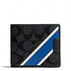 COACH COACH HERITAGE COMPACT ID WALLET - CHARCOAL/MARINE - F74706