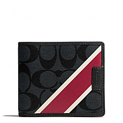 COACH COACH HERITAGE STRIPE COMPACT ID WALLET - CHARCOALRED - F74706