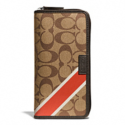 COACH HERITAGE SIGNATURE ACCORDION WALLET - f74707 - KHAKI/PAPAYA